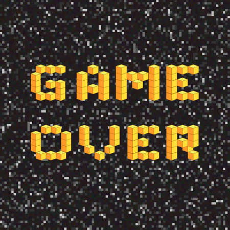 old pc: Game over screen, old school gaming poster, failure concept