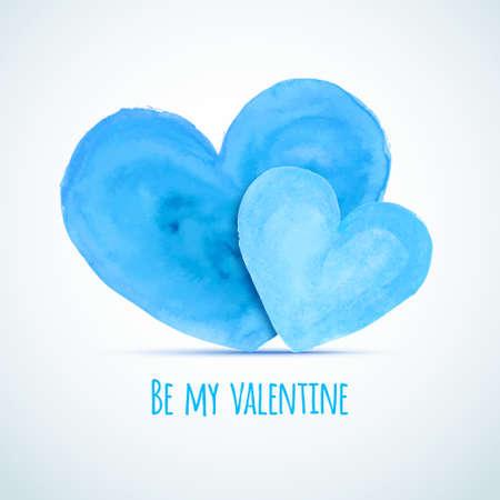 homosexual: Vector watercolor hearts for homosexual couples Valentines day card designs