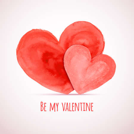 Vector watercolor hearts for Valentines day cards designs Vector