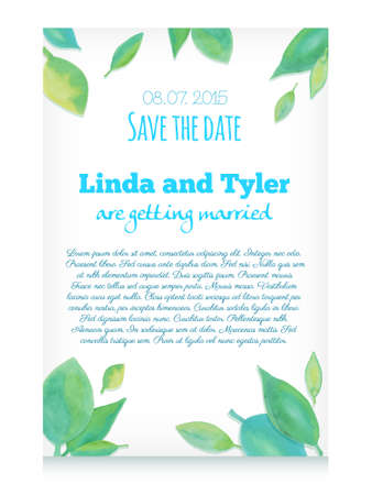 ornamental background: Vector invitation card with green hand drawn watercolor leaves. Save the date