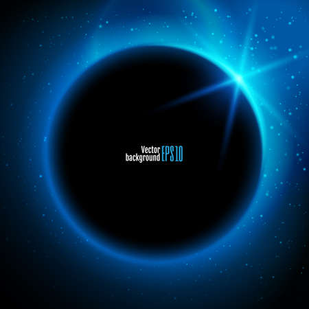 text space: Eclipse illustration, planet in space in blue rays of light  vector background