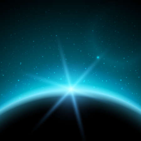 cosmic rays: Eclipse illustration, planet in space in blue rays of light  vector background