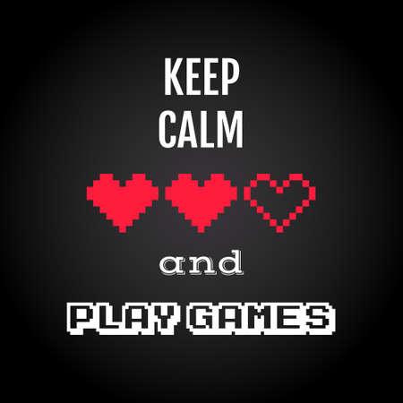 Houd kalm en spelletjes spelen, gokken citaat vector Stock Illustratie