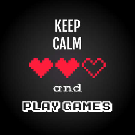 Keep calm and play games, gaming quote vector Ilustração