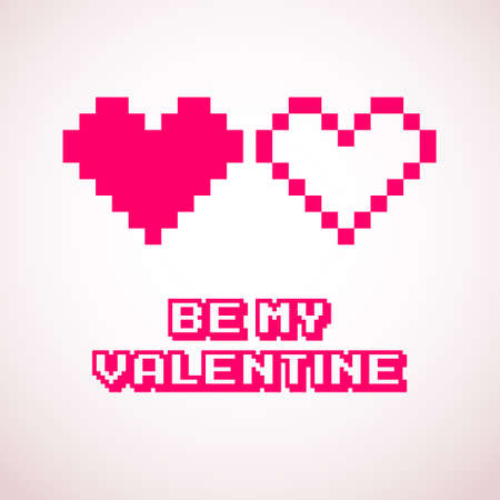 Vector pixel hearts for Valentines day cards designs Vector