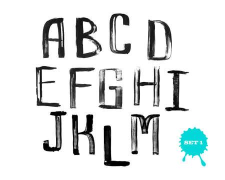 uneven: Grunge uneven handwritten alphabet, vintage calligraphy, stamp style, capital letters, set 1