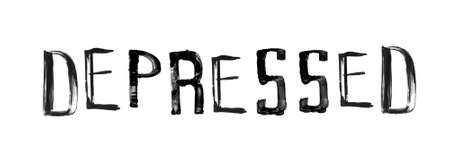 stroked: The word DEPRESSED , handwritten grunge brush stroked lettering Illustration