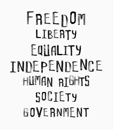 uneven: Freedom, independence, equality concept, word cloud in uneven vintage stamp style