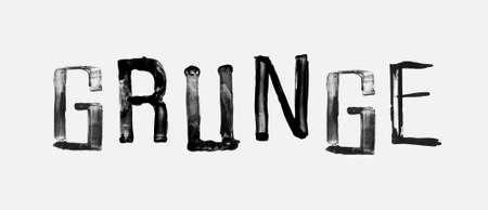 stroked: The word GRUNGE , handwritten grunge brush stroked lettering