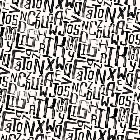 size: Vintage style pattern, uneven grunge letters of random size Illustration
