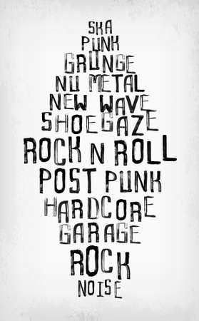 music symbol: Rock music styles tag cloud, grunge oldschool typography stamp style poster