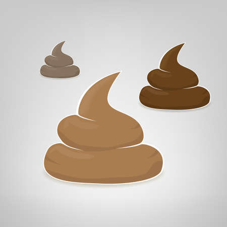 feces: Three vector poops illustration