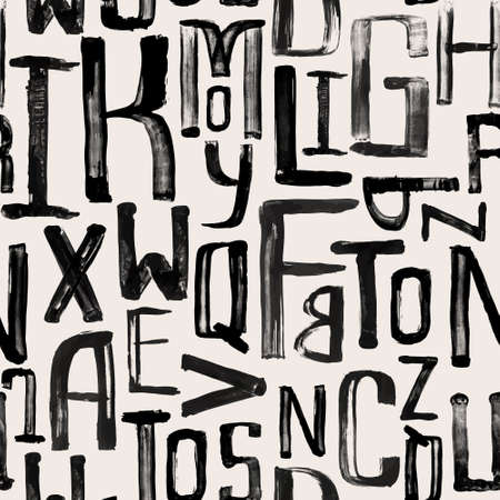 uneven: Seamless vintage style pattern, uneven grunge letters of random size Illustration