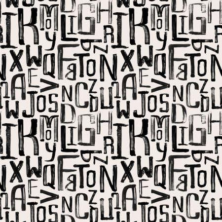 Patrón de estilo de la vendimia inconsútil, letras grunge desiguales de tamaño aleatorio