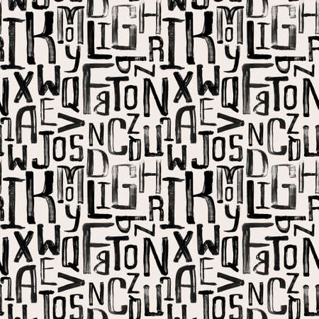 random pattern: Seamless vintage style pattern, uneven grunge letters of random size Illustration