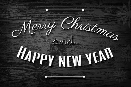 noir: Noir style Christmas card, Merry Christmas and Happy New Year typography on black and white wooden background