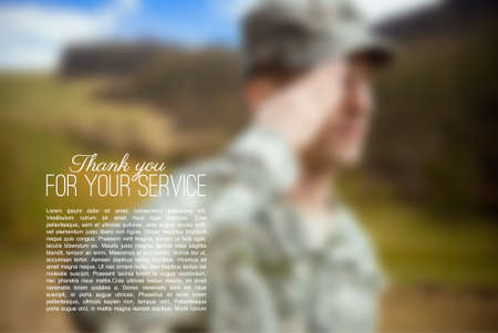 Blurred illustration of saluting soldier, mesh vector background for your designs