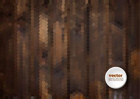 Dark brown wooden background, geometric hexagon background vector Vector