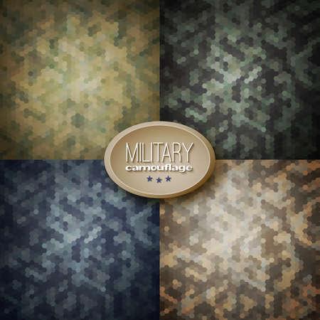 Military camouflage backgrounds (jungle, woodland, blueberries, desert storm), vector illustrations 일러스트
