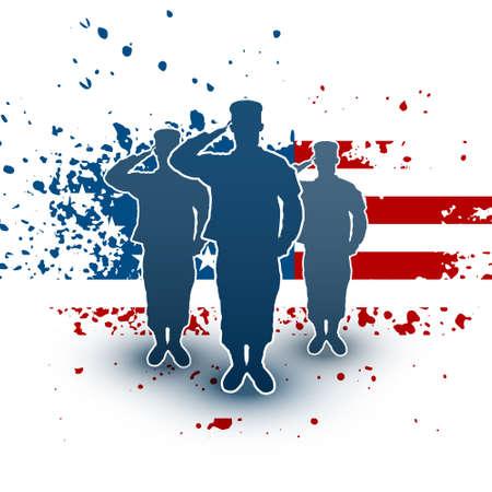 male silhouette: Soldados saludan silueta en fondo de la bandera americana Vectores