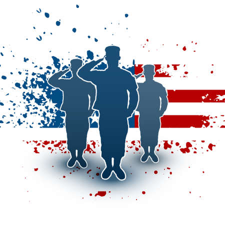 Saluting soldiers silhouette on american flag background