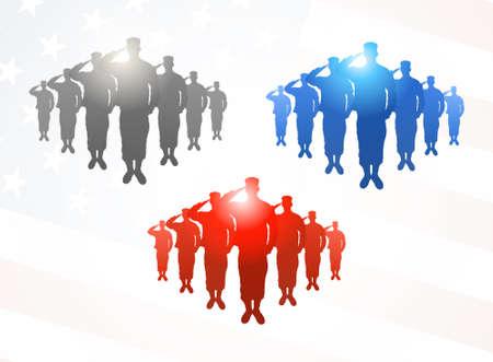 silhouette soldat: Trois groupes de soldats saluant dans des couleurs grises, bleues et rouges sur fond de drapeau am�ricain Illustration