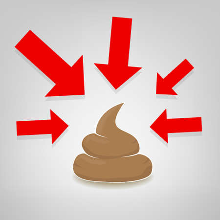 feces: Poo illustration with red arrows pointing at it, vector Illustration
