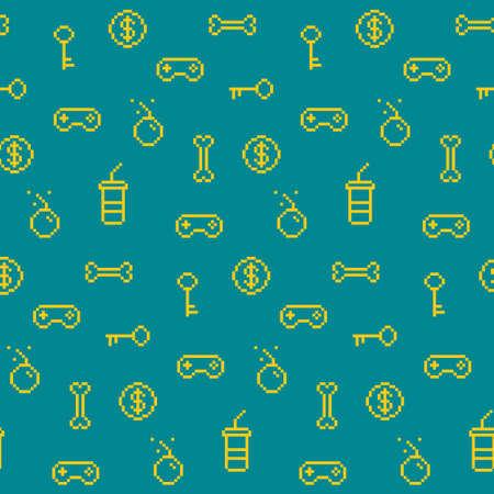 원활한 oldschool 게임 영감 패턴, 게임 아이콘, 업적, 90 년대 배경 일러스트