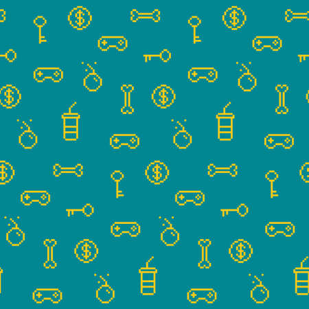 controller: Seamless oldschool gaming inspired pattern, game icons, achievements, 90s background