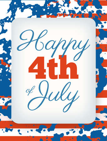Happy 4th of July card, national american holiday Independence day Illustration