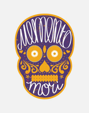 mindful: Mexican sugar skull with memento mori (latin. Be mindful of death) lettering, colorful illustration for Day Of the Dead (Día de los Muertos)