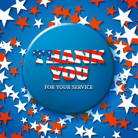 Děkuji vám za vaše služby, vojenské apreciace karta s hvězda pozadí Ilustrace