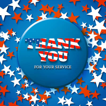 blue you: Thank you for your service, military appreciation card with star background