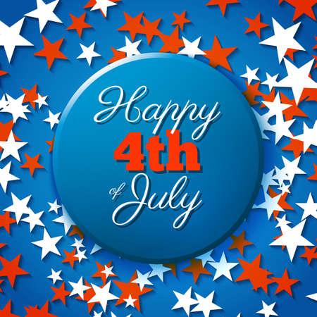 parade confetti: 4to feliz de la tarjeta de julio, d�a de fiesta americano nacional D�a de la Independencia Vectores
