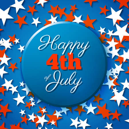 star spangled: Happy 4th of July card, national american holiday Independence day Illustration