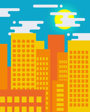 panoramic business: Flat style cityscape on a sunny day, big city life Illustration