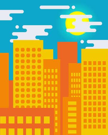 life style: Flat style cityscape on a sunny day, big city life Illustration