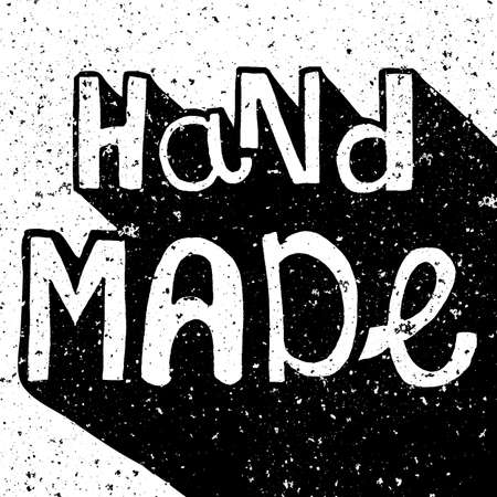 Vintage distressed black and white Hand Made label