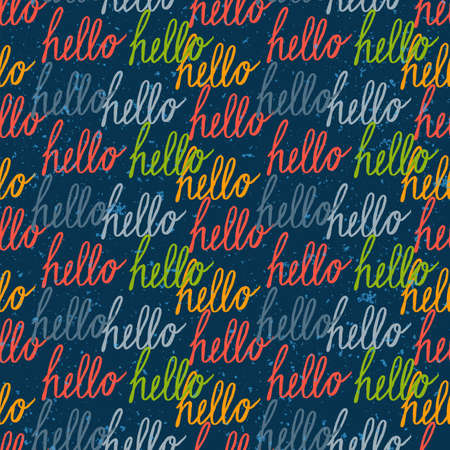 type lettering: Seamless pattern with colorful vintage Hello lettering