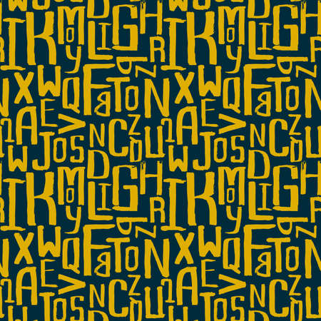 Seamless vintage style pattern, uneven grunge letters of random size Vector