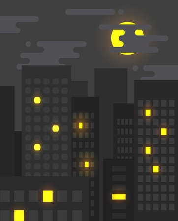moon  metropolis: Flat style cityscape at night with light in some of the windows still on, big city life Illustration