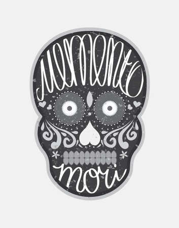 memento: Mexican sugar skull with memento mori (latin. Be mindful of death) lettering, black and white illustration for Day Of the Dead (Día de los Muertos) Illustration