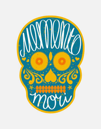 death: Mexican sugar skull with memento mori (latin. Be mindful of death) lettering, colorful illustration for Day Of the Dead (Día de los Muertos)