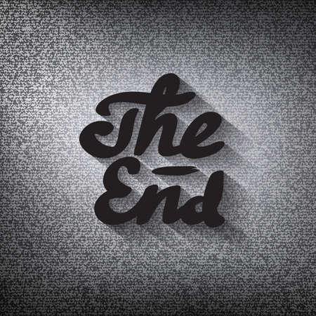 Old movie ending screen, stylized noir The End lettering Vector