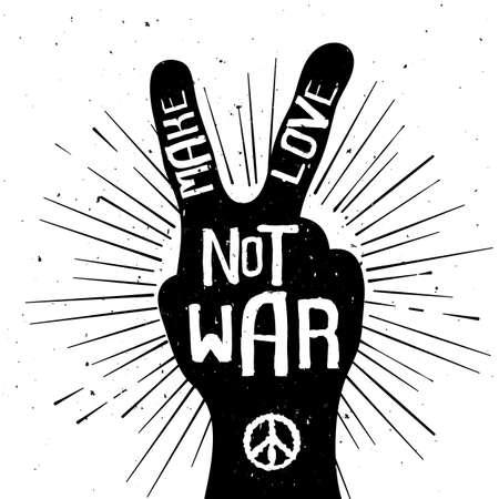 hacer el amor: Grunge apenado silueta signo de la paz con Make texto guerra del amor no