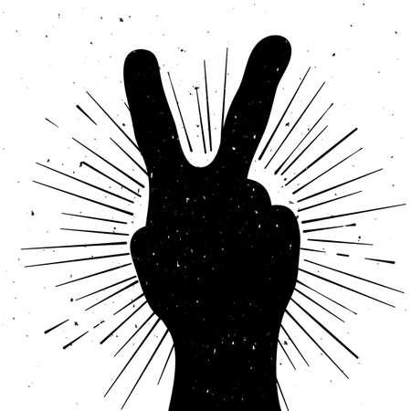 signo de paz: Lamentando silueta signo de la paz, la plantilla del grunge para el texto Vectores