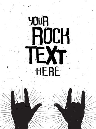 hard rock: Rock hands silhouettes on a concert , grunge template for your slogan, text or announcement