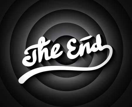 Old movie ending screen with black and white gradient circles background, stylized noir The End lettering Illustration