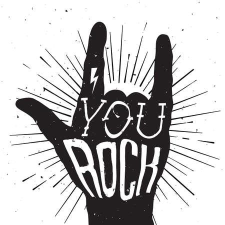 hand sign: Verontruste zwart-wit poster met rock handteken met You Rock tatoeage op Stock Illustratie