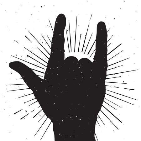 rock n: Rock hand sign silhouette, grunge template for your slogan, text or announcement